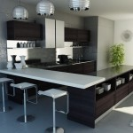 Stylish kitchen configiration of using floating shelves, counters and lights to join it all togheter.